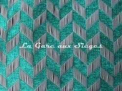 Tissu Casal - Trapéziste - réf: 16186 - Coloris: 1265 Turquoise Anthracite - Voir en grand