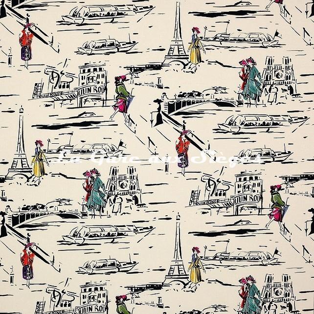 Tissu Manuel Canovas - La Parisienne - réf: O4911/01 Noir et Blanc - Voir en grand