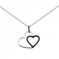 Image Coeur Noir Et Blanc collier coeur entrelacés noir et blanc - bijouterie horlogerie lechine