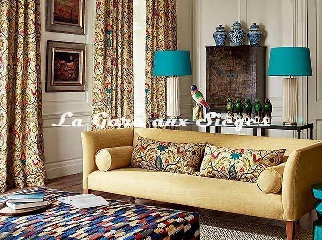 Tissu Zoffany - Oiseaux de Paradis Embroidery - Voir en grand