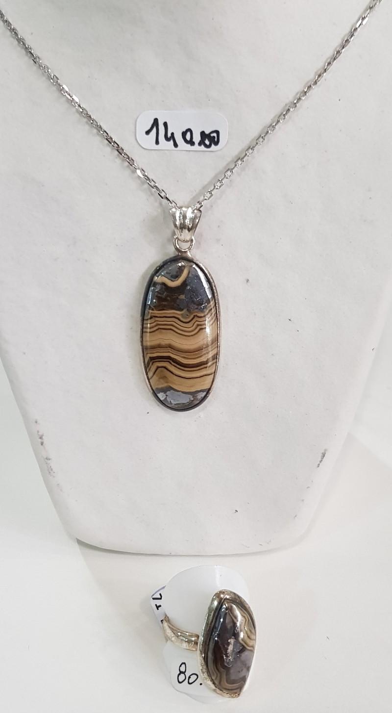 melage agate et pyrite - argent pierres semi précieuses - Bijoutier artisan ATELIER DB CREATION - Voir en grand