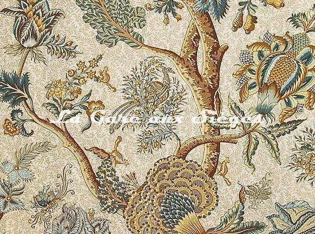 Tissu Braquenié - Le Grand Corail - réf: B080A.004 Bleu Or/Fond Blanc - Voir en grand