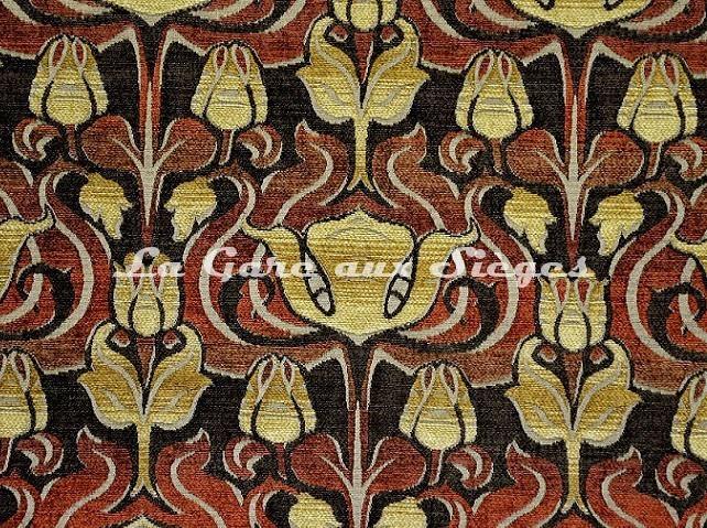 Tissu Casal - Velours Tiffany - réf: 16207-7555 Rouge Marron - Voir en grand