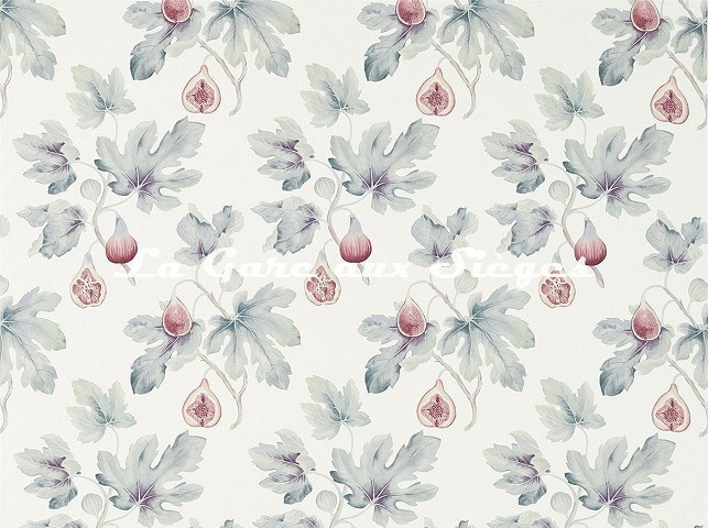 Tissu Sanderson - Fig Harvest - réf: 226330 Craie/Orchidée - Voir en grand