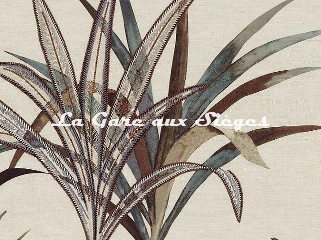 Tissu Casamance - Création - réf: 4221.0367 Beige/Bleu rivière - Voir en grand