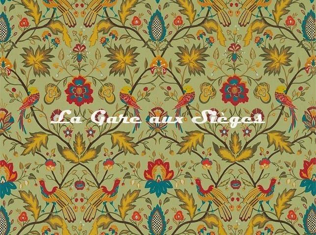 Tissu Zoffany - Oiseaux de Paradis Embroidery - réf: 333092 Olivine - Voir en grand