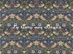 Tissu William Morris - Strawberry Thief - réf: 220313 Indigo/Mineral - Voir en grand