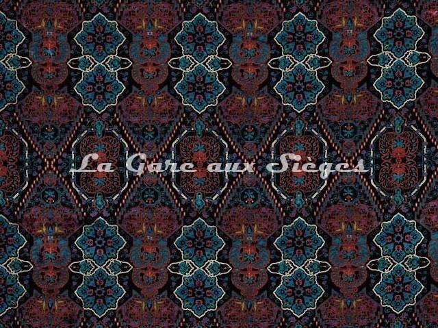 Tissu Osborne & Little - Iolanthe - réf: F7042-01 Aubergine/Coral/Pink/Jade - Voir en grand