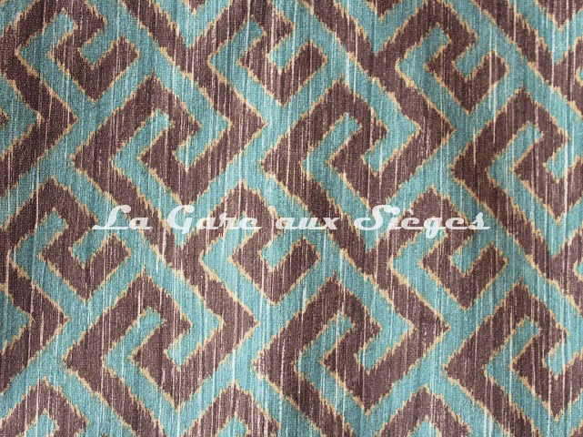 Tissu Deschemaker - Labyrinthe - réf: 3119 Paon - Voir en grand
