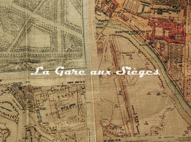 Tissu GP & J.Baker - Palace Maps Linen - réf: BP10657.1 ( détail ) - Voir en grand