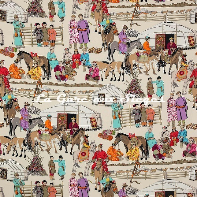 Tissu Manuel Canovas - Hazara - réf: O4913.01 Turquoise - Voir en grand