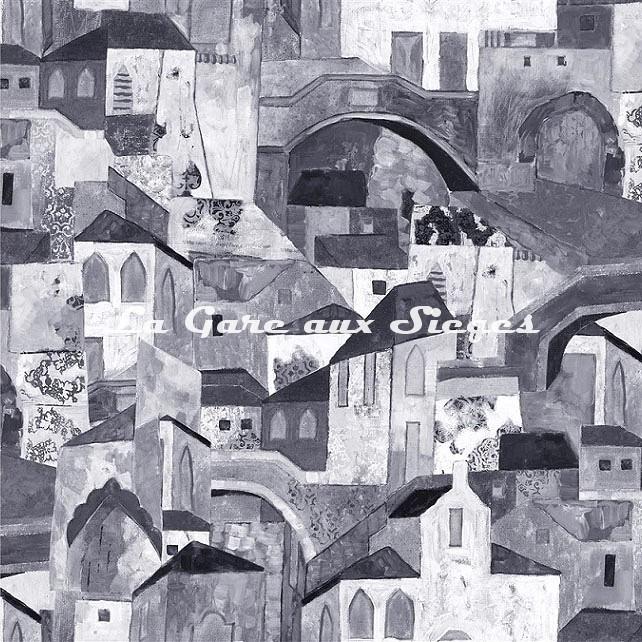 Tissu Rubelli - Burano - réf: 30411.002 Grigio ( motif gauche ) - Voir en grand