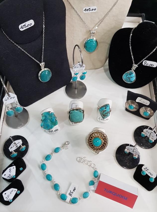 turquoise - argent pierres semi précieuses - Bijoutier artisan ATELIER DB CREATION - Voir en grand