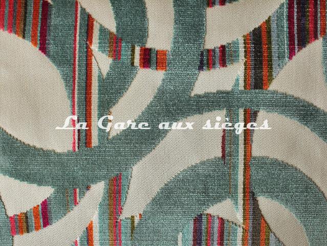 Tissu Casal - Chenonceau - réf: 12704.12 Turquoise ( détail ) - Voir en grand