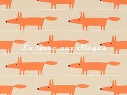 Tissu Scion - Mr Fox Applique - réf: 131655 Tangerine/Linen - Voir en grand