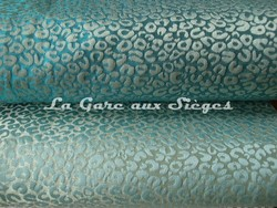 Tissu Osborne & Little - Ocelot - réf: F6531 - Coloris: 01 Jade & 03 Ice blue - Voir en grand