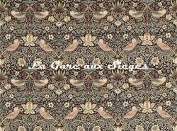 Tissu William Morris - Strawberry Thief - réf: 220311 Chocolate/Slate - Voir en grand