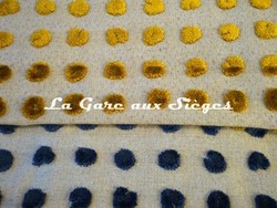 Tissu Harlequin - Polka - réf: 130684 Mustard/Neutral & 130688 Hyacinth/Neutral - Voir en grand