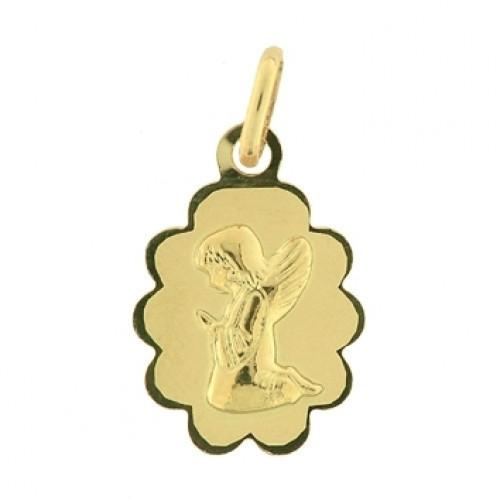 Médaille ovale ange prière or jaune  - Médailles ange - Bijouterie Horlogerie Lechine - Voir en grand
