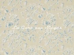 Tissu Sanderson - Magnolia & Pomegranate - réf: 222508 Parchment/Sky Blue - Voir en grand