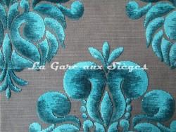 Tissu Casal - Velours Galliéra - réf: 12655 - Coloris: 10 Turquoise - Voir en grand