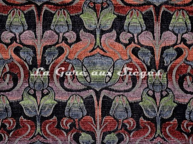 Tissu Casal - Velours Tiffany - réf: 16207-960 Violine Noir - Voir en grand