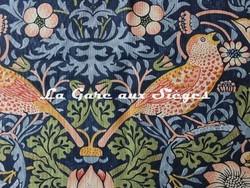 Tissu William Morris - Strawberry Thief - réf: 220313 Indigo/Mineral ( détail ) - Voir en grand