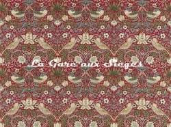 Tissu William Morris - Strawberry Thief - réf: 220312 Crimson/Slate - Voir en grand