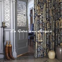 Tissu William Morris - Toile de lin Forest Indigo - Voir en grand