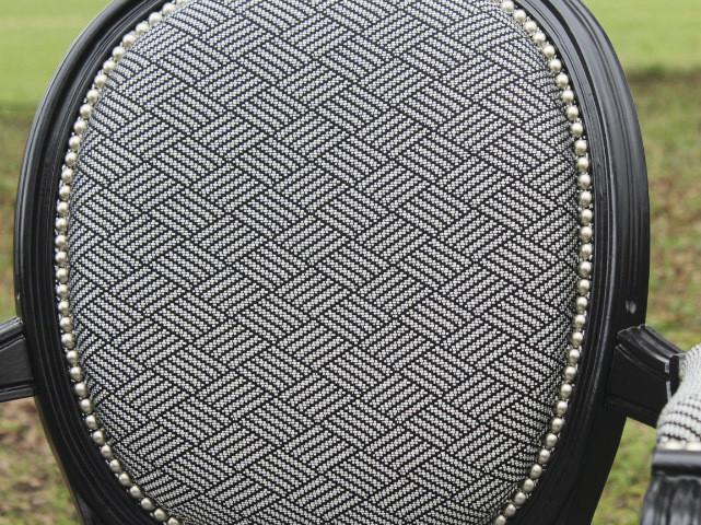 Fauteuil cabriolet Louis XVI - Tissu Lelièvre Nodo - Voir en grand