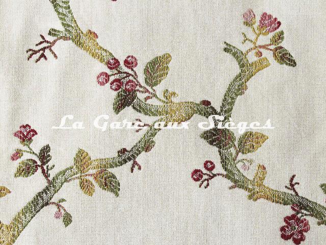 Tissu Chanée Ducrocq - Eugénie - réf: 6738 Rose Vert ( détail ) - Voir en grand