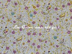 Tissu Casal - Fleurs et Oiseaux - réf: 30411.1596 Indigo/Prune ( détail ) - Voir en grand