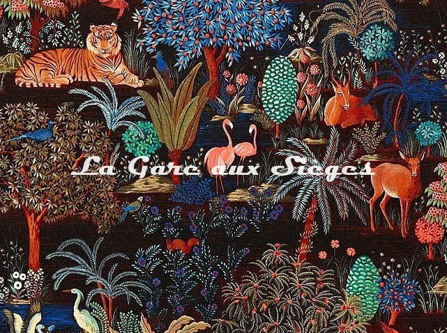 Tissu Pierre Frey - Le jardin du palais - réf: F3470.002 Nuit ( détail ) - Voir en grand