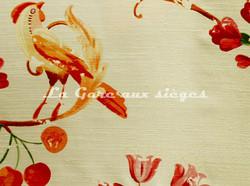 Tissu Bélinac - Pomone - réf: 1023/3922-02 Blanc cassé/Rose/Orange - Voir en grand
