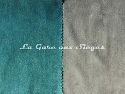 Tissu Casamance - Faveur - réf: 3823.0816 Bleu topaze & 3823.0357 Gris fusain - Voir en grand