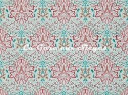 Tissu William Morris - Artichoke Embroidery - réf: 234546 Aqua/Coral - Voir en grand