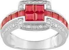 Bague or 18 carats blanc rubis & diamant 1175 ¤  - Voir en grand