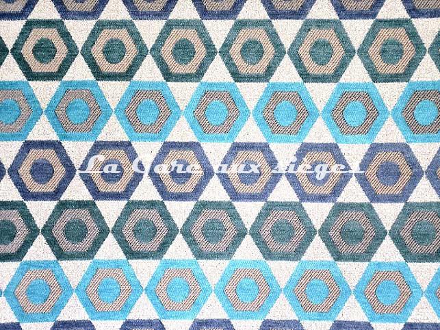 Tissu Casal - Manaus - réf: 83989.10 Multi Bleus - Voir en grand