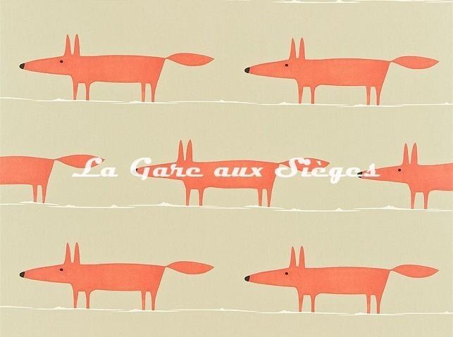 Tissu Scion - Mr Fox - réf: 120071 Neutral/Paprika - Voir en grand