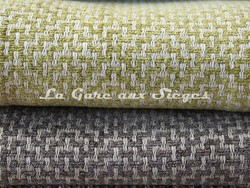 Tissu Osborne & Little - Ardee - réf: F6690 - Coloris: 06 Chartreuse/Ivory & 07 Taupe/Linen - Voir en grand