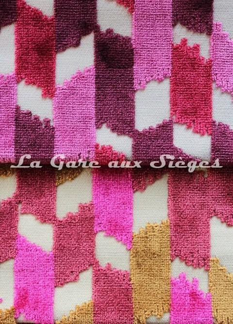 Tissu Jéro - Italique - réf: 9116 - Coloris: 01 Ecarlate & 02 Passion - Voir en grand