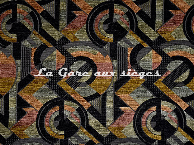 Tissu Casal - Sonia - réf: 16208-450 Orangé Noir - Voir en grand