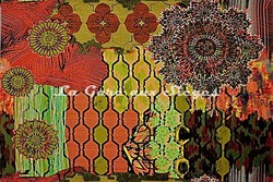 Tissu Casal - Woodstock - réf: 35001-45 Multi orange - Voir en grand