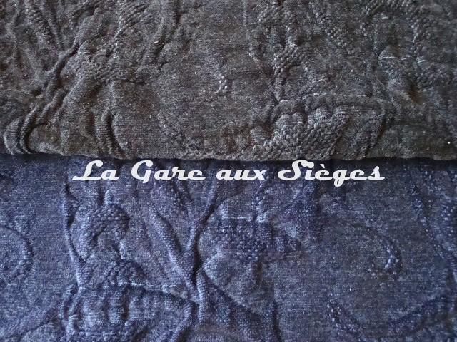 Tissu Dominique Kieffer - Damas - réf: 17116 - Coloris: 01 Noir & 06 Bleu de Prusse - Voir en grand