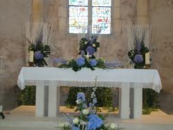 décor d'autel complet église champêtre bleu  - Voir en grand