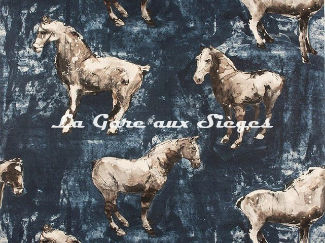 Tissu Donghia - Horses - réf: 10357.002 Blue - Voir en grand