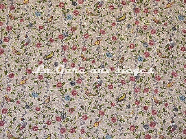 Tissu Casal - Fleurs et Oiseaux - réf: 30411.8090 Grenat/Rose - Voir en grand