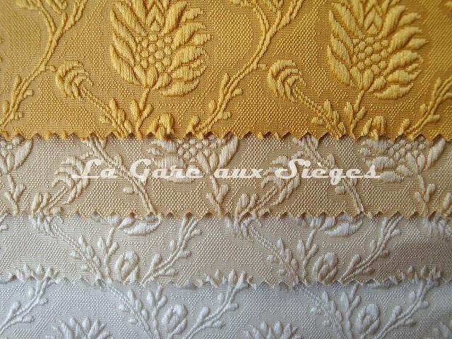 Tissu Tassinari & Châtel - Damas Pommes de pin - Coloris : 34 / 03 / 01 / 20 - Voir en grand