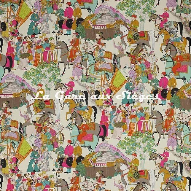 Tissu Manuel Canovas - Dara - réf: O4758.01 Turquoise - Voir en grand