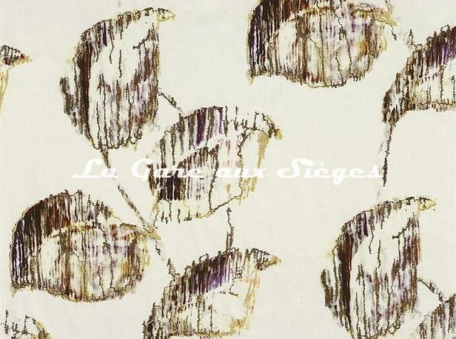 Tissu Casamance - Calendula - réf: 3578.0154 Marron/Jaune - Voir en grand